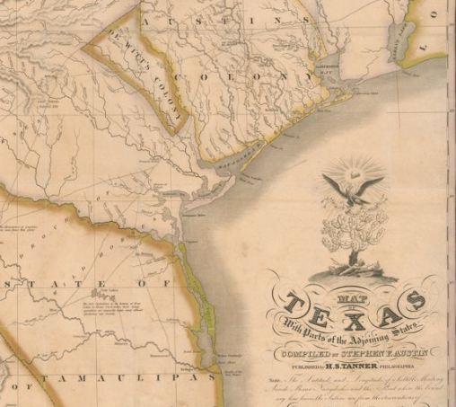 Austin's 1830 Map of Texas