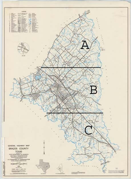Brazos Valley 1980 Highway map