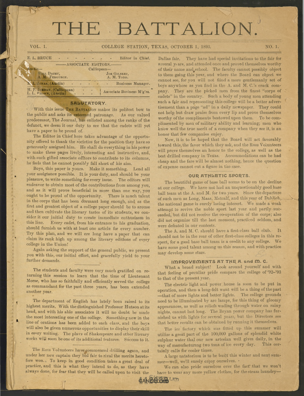 Thumbnail of 1st Issue of The Battalion 1893