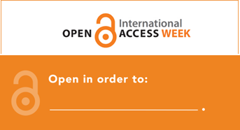 "Open Access Week logo with the message, ""Open in order to:"" and a blank space to encourage reflection on why open access is important to you"